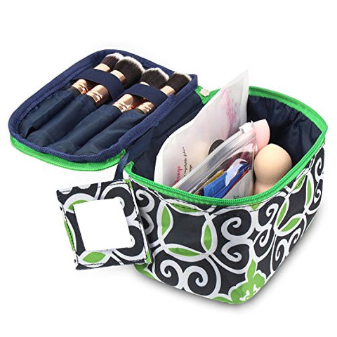 Zodaca Travel Cosmetic Organizer Carry Bag, Navy/Green Swirls