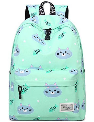 Bookbags For Teens, Cute Cat And Fish Laptop Backpack School Bags Travel Daypack Handbag By Mygreen