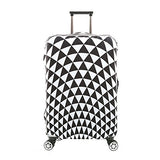 "7-Mi 3D Print Infinity White Triangular Design Travel Suitcase Protector Elastic Sleeve Cover 26""-28"" Anti-Scratch Luggage Cover Size L with Luggage Strap"
