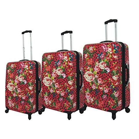 Chariot Leopard Flowers 3-Piece Hardside Upright Spinner Luggage Set, Pink