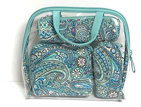 Vera Bradley womens Iconic 4 Pc. Cosmetic Set, Signature Cotton, Daisy Dot Paisley, One Size