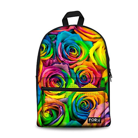 Bigcardesigns Women Flower Canvas Bookbag Backpack Notebook Laptop Bag