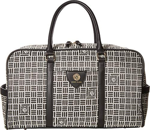 Anne Klein Women's Logo Jacquard Weekender Natural/Black One Size