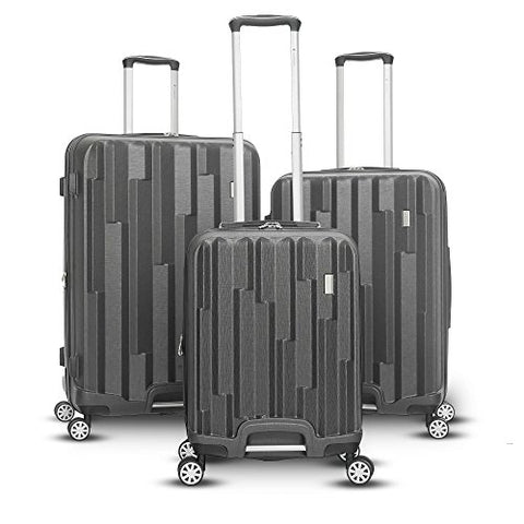 Gabbiano Avila 3 Piece Expandable Hardside Spinner Luggage Set (Dark Grey)