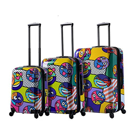 "Mia Toro Italy Emojis Multicolored Hard Side Spinner Luggage 3pc Set [20"", 24"" & 28""]"