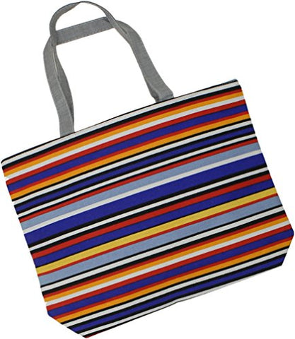Zuzify Over The Shoulder Cotton Canvas Zipper Tote Bag. Zuz0015 Os Bright Stripes