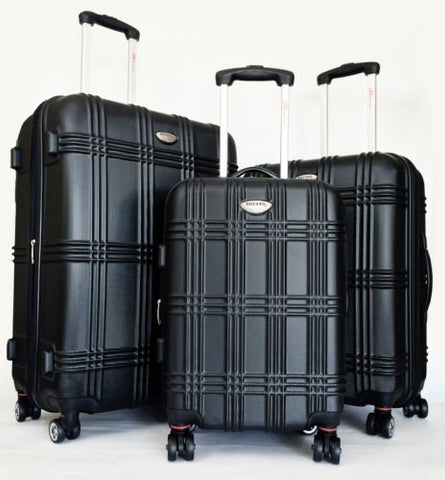 3Pc Luggage Set Hardside Rolling 4Wheel Spinner Upright Carryon Travel Abs Black