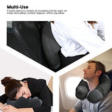 Kmall Inflatable Travel Neck Pillow for Airplane Travel Best Neck Support Sleep Travel Pillow with Super Comfort Pillow Case, Gray