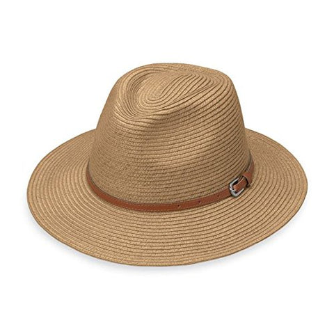 Wallaroo Women's Naples Sun Hat - Colorful Paper Braid Fedora - UPF50+, Camel