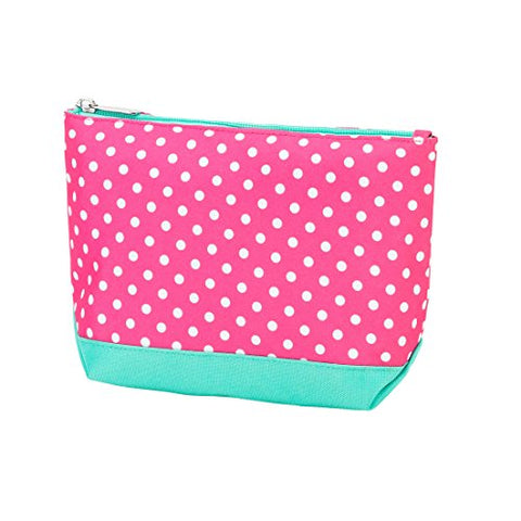 Pink Dottie Print Small Travel, Purse, Cosmetic Accessory Pencil Bag 9 In - Can Be Personalized