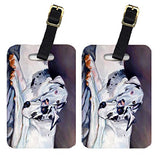 Caroline's Treasures 7163BT Pair of 2 Harlequin Natural Great Danes Luggage Tags, Large, multicolor