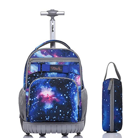 Tilami Rolling Backpack 18 Inch for School Travel with Pencil Case,Blue Galaxy