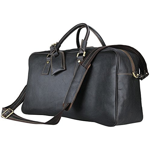 Large Mens Leather Duffel Bag, Berchirly Outdoor Travel Duffel Black