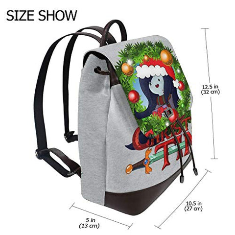 Adventure Christmas Time Wreath Marceline Cartoon Network Fashion Design Leather Backpack For Women Men College School Bookbag Weekend Travel Daypack