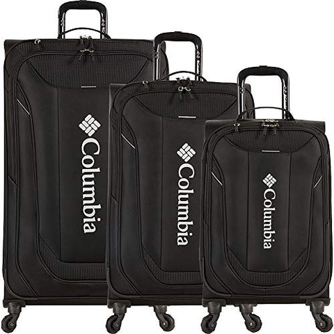 Columbia Luggage Cabin Lake 3 Piece Expandable Spinner Luggage Set (Black)