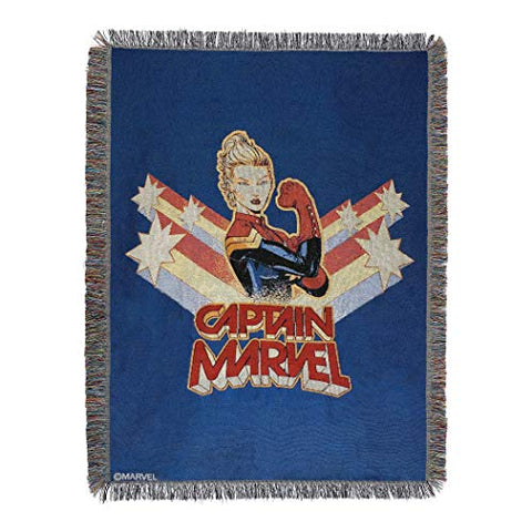 "Marvel's Captain Marvel, ""Vintage Victorious"" Woven Tapestry Throw Blanket, 48"" x 60"", Multi Color"