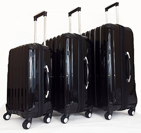 3Pc Luggage Set Suitcase Travel Hardside Rolling 4Wheel Spinner Carryon Black