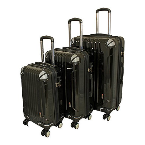 AMKA 3-Piece TSA Locks Hardside Upright Spinner Luggage Set-Black