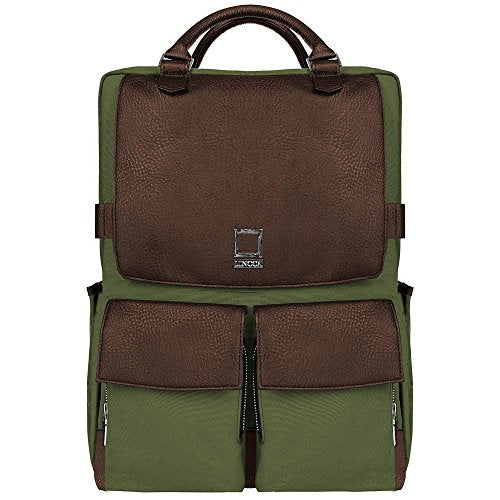 "Lencca Water Resistant Laptop Backpack School Travel Bag for Dell Inspiron 14 15 / Latitude Precision 15 / Precision Mobile Workstation / XPS 15 Series 14"" 15.6"" Laptop (Forest Green / Espresso Brown)"
