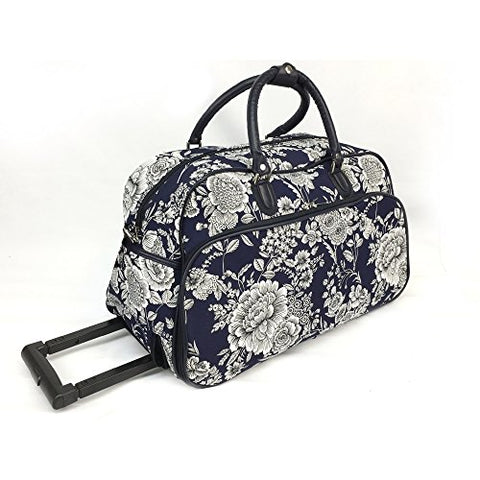 Vibrant Garden Floral Bouquet Motif Rolling Lightweight Carry On Duffel Bag, Printed Modern Graphic