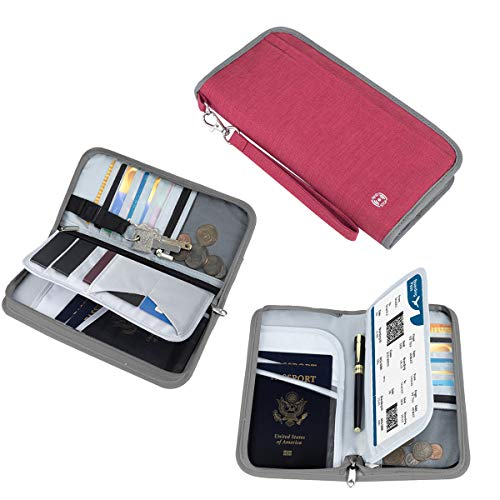 RFID Blocking Document Organizer Bag Red Travel Wallet Passport Holder