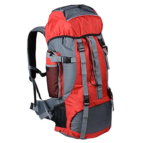 GHP 70L Capacity Red 600D Oxford Fabric PVC Inner Layer Outdoor Camping Backpack