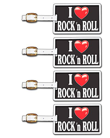 Tag Crazy I Heart Rock N Roll Four Pack, Black/White/Red, One Size