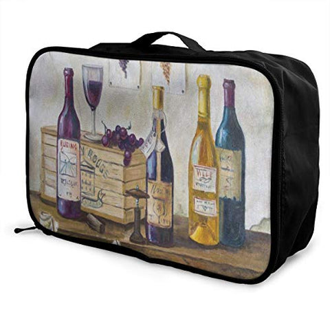 Travel Bags Bottles Wine And Grapes On The Table Watercolor Portable Foldable Hot Trolley Handle