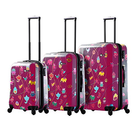 Mia Toro M1306-03Pc-Pnk Italy Mistico Hardside Spinner Luggage 3Pc Set, Pink