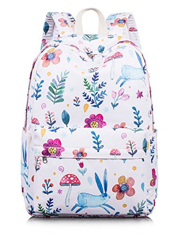 Lovely Bunny Backpack For Girls, Water-Resistant Children School Daypack Laptop Backpack By