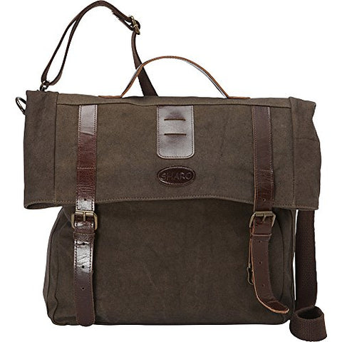 Sharo Leather Bags Leather And Canvas Messenger Bag (Brown)