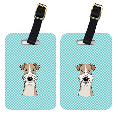 Caroline's Treasures BB1185BT Pair of Checkerboard Blue Wire Haired Fox Terrier Luggage Tags,