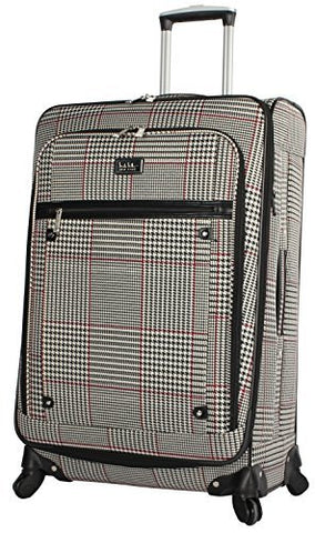 "Nicole Miller Luggage Carry On 20"" Expandable Softside Suitcase With Spinner Wheels (20 in, Rosalie Beige)"