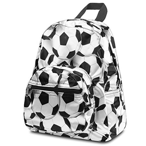 Zodaca Kids Small Backpack, White/Black Soccer