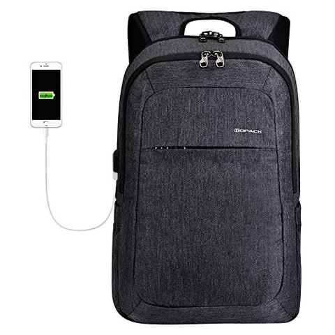 Kopack Laptop Backpack Men Usb Port Charger Slim Business Computer Backpack Anti-Theft Water