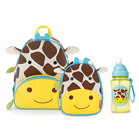 Skip Hop Zoo Backpack, Lunchie, And Bottle Set, Giraffe