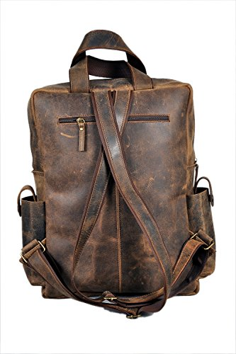 920f9df9501a Devil Hunter 18 Leather Backpack For Men / Women Brown Leather Laptop  Backpack