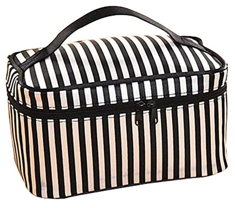 Travel Cosmetic Bag Cartoon Bucket Bag Cosmetic Pouch (Black And White Stripes)