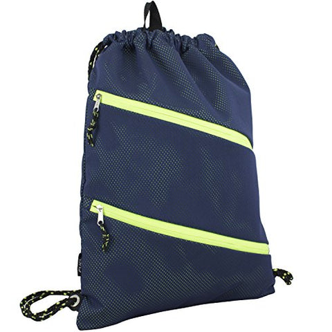 Fuel Dual Zip Sporty Cinch Sling with Durable Chord Straps, Navy Mesh/Neon Yellow Underlay