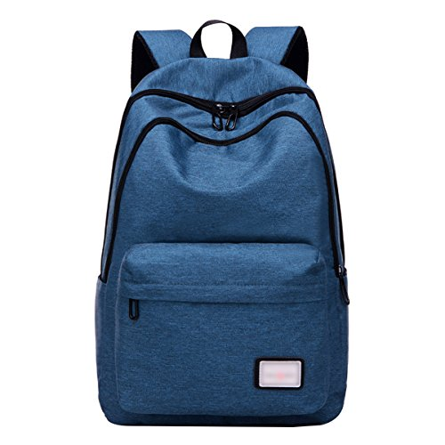 "ABage Unisex Laptop Backpack 15.6"" Casual Canvas Travel College School Backpacks, Dark Blue"