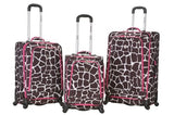Rockland Luggage Fusion 3 Piece Luggage Set, Pink Giraffe, Medium
