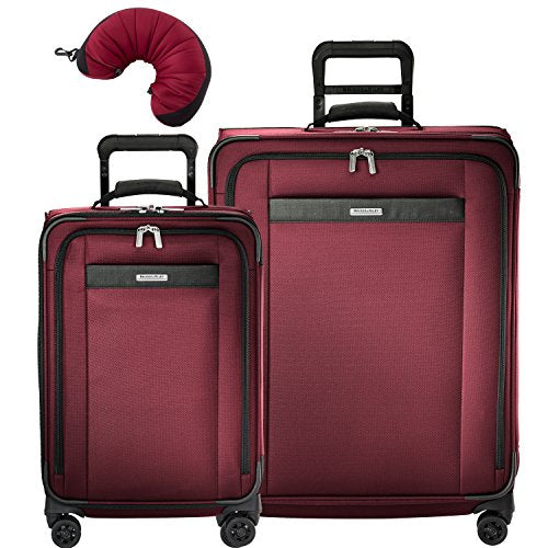 Briggs & Riley Transcend VX 3 Piece Spinner Set | Tall Carry-On Expandable Spinner | Medium Expandable Spinner | Travel Pillow (Merlot)