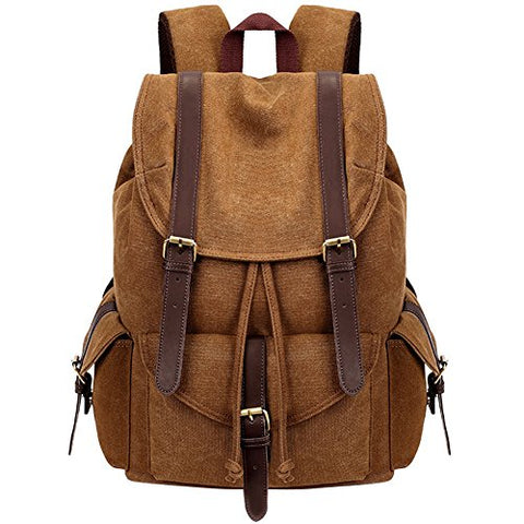 Mens Womens Casual Canvas Laptop Backpack Outdoor Travel Rucksack School Bookbags Khaki