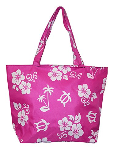 Hawaiian Print Medium Sized Beach Bag Tote (Pink - Turtle & Hibiscus)