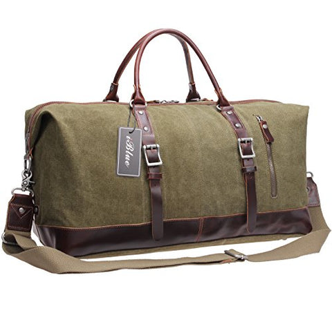 Iblue Genuine Leather Trim Travel Tote Duffel Garment Gym Shoulder Handbag Canvas Overnight Weekender Bag Large#B003(Xl 21'', Army Green)