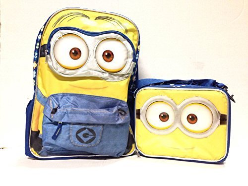 "Despicable Me Minions 3D Eyes 16"" Inches Backpack With Lunch Bag"