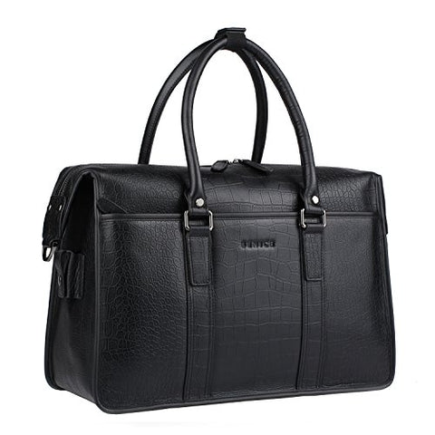 Banuce Men Black Genuine Leather Briefcase Business Travel Tote Shoulder Messenger Bag
