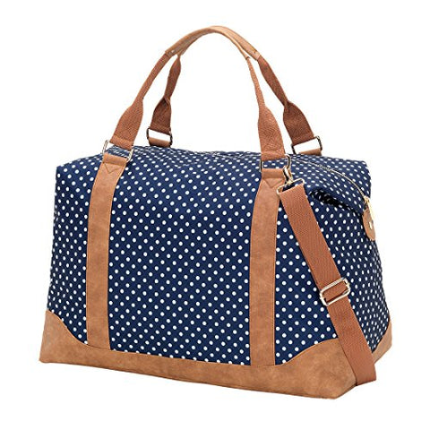 VIV&LOU High Fashion Print Weekender Bag (Blank, Charlie Navy Dots)