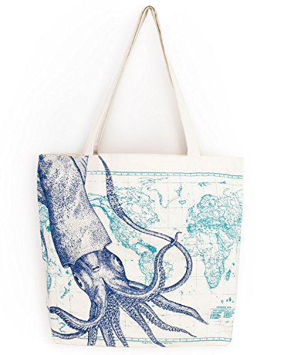 Cognitive Surplus Cephalopod Marine Illustration Tote Bag 10 oz Recycled Cotton