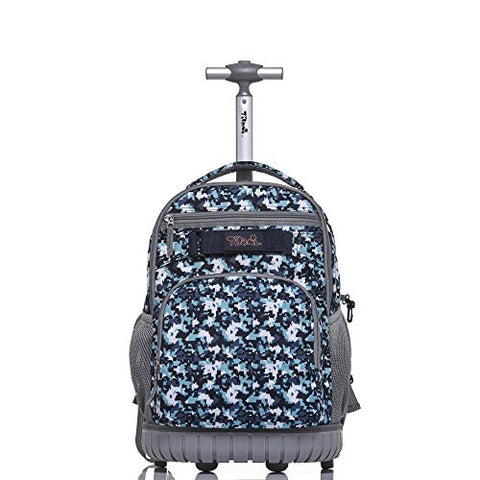 Tilami Rolling Backpack 18 inch for School Travel,Blue Camouflage